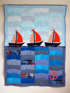 Patchwork Quilt with Sailboats, Nautical Quilt, Nursery Quilt, Single Bed Quilt, Toddler Quilt, Unique Handmade Quilt, Blue Bedding