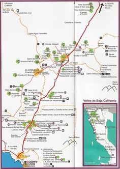Valle de Guadalupe Wine Route Map Country Maps, Wine Country, Baja California, Ensenada Mexico, Monuments, South Of The Border, Travel Info, Travel Scrapbook, Family Travel