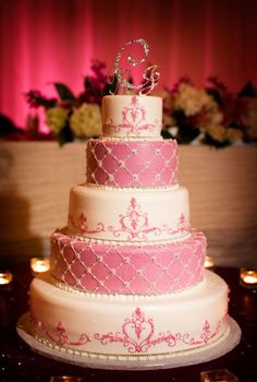 Pink and White Wedding Cake - Indian Chinese Wedding by Limelight Photography Pretty Cakes, Cute Cakes, Beautiful Cakes, Amazing Cakes, Candy Cakes, Cupcake Cakes, Bolos Naked Cake, Types Of Wedding Cakes, Pink And White Weddings