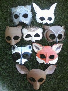 Woodland masks, owl, deer, fox, squirrel, rabbit, hedgehog, raccoon, wolf.  via Etsy.