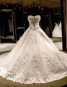 Princesse Robe de Mariage  Traîne Chapelle Sans Bretelles Tulle avec Perlage
