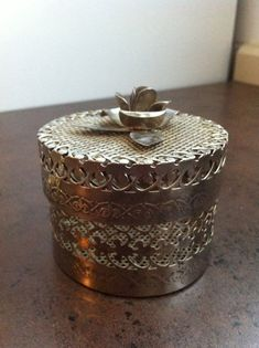 Vintage Filigree Box - Pierced Silver Tone Metal - Trinket Vanity Organizer - Jewelry Box -  Boudior Decor