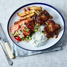 Pork Souvlaki, Tzatziki & Greek Salad