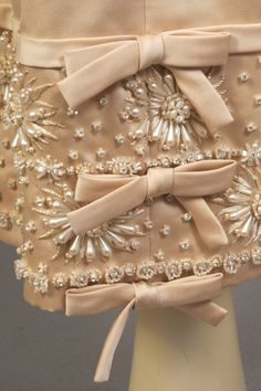 Christian Dior Haute Couture evening cocktail dress designed by Yves St Laurent during his brief tenure at Christian Dior made in the late 1950's. The vintage beaded embroidered elaborate with pearl, bead, rhinestones and trim beadwork is undoubtedly by Lesage, Paris. #christiandior #dior #ysl #hautecouture #fashion
