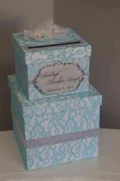 Tiffany Blue lace Wedding Card box by ForeverLoveNotes, $115.00