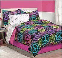 Girl Neon Black Pink Green Purple Peace Sign Full Queen Comforter Set (3pc Set)