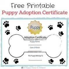 Free Printable Adoption Papers Children S Dog themed Party Ideas Lots Of Fun Ideas and Dog Themed Parties, Puppy Birthday Parties, Dog Birthday, Birthday Ideas, Dog Themed Food, Dog Parties, Birth Certificate Template, Adoption Certificate, Adoption Party