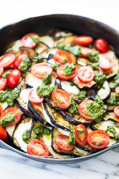 Grilled Eggplant Mozzarella Stacks with Pesto and Tomatoes | Get Inspired Everyday!