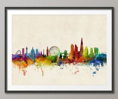 London England Skyline #2, Art Print (1026)
