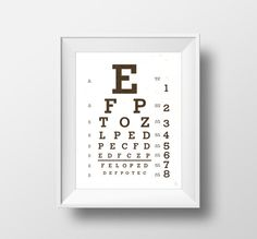 Digital print Snellen eye chart print Typography by Emblematical #snellenchartprint #snellenchart #eyechart #lettering