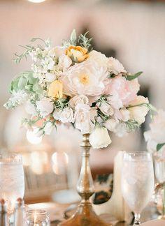 pretty gold pedestal centerpiece   Laura Leslie #wedding