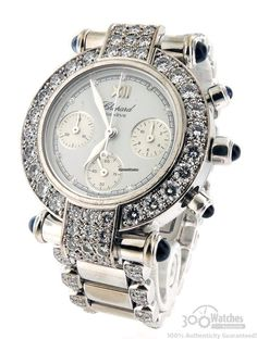 Chopard Imperiale S38/3229-23 Diamond Chronograph Stainless Steel 32mm Watch $26,995 The 18k white gold bezel, lugs, and bracelet are packed with spectacular original Chopard factory set diamonds.