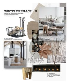 """Winter Fireplace"" by szaboesz ❤ liked on Polyvore featuring interior, interiors, interior design, home, home decor, interior decorating, Benjamin Moore, Pottery Barn, Seed Design and NLXL"