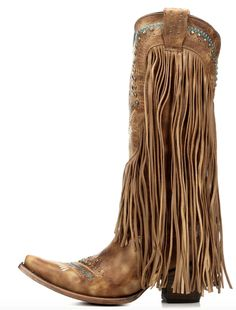 Corral Honey Crystal and Fringe Boots