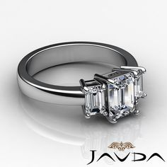 Classic Emerald Diamond 3 Stone Engagement Ring GIA F SI1 14k White Gold 1 5 Ct | eBay