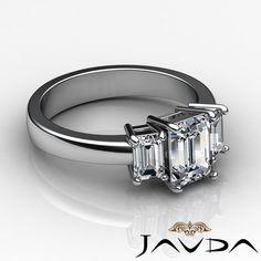 Natural Emerald Diamond Engagement Three 3 Stone Ring EGL E VS2 Platinum 1 5 Ct | eBay