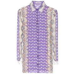 Etro Printed Silk and Cotton Shirt ($440) ❤ liked on Polyvore featuring tops, multicoloured, purple shirt, purple silk top, cotton shirts, woven cotton shirt and etro shirts