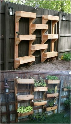 Put this on my neighbors hideous fence-- Wooden Boxes Vertical Wall Garden