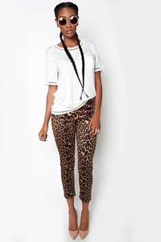 """LEOPARD PANTS $45.00 USD Size SWANK Blue Leopard Pants are not only uber stylish; the high-quality, suede-like material makes them look incredibly high end. These high-waist pants feature a leopard print and back-zipper closure. They also offer a bit of stretch. Wear them with a denim shirt and a bold colored lip for a super cute look. - 100% Polyester - 38"""" Length - Measurements Taken From Size Small - Dry Clean Only"""