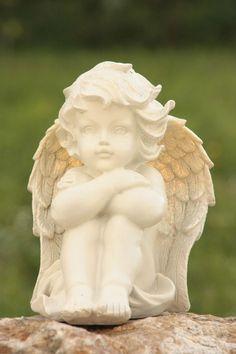 ANGE ASSIS SONGEUR CHERUBIN ANGELOT FIGURINE STATUE DETAILS SOIGNES 81658-1