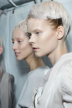 """We used icy, white blonde color to create a classic, choir-boy inspired haircut, but you can still see the model's natural hairline displayed underneath, almost like an undercut so there's a contrast between something natural and something strange. There are different layers to the style which really make you stare."" - Eugene Souleiman for Haider Ackermann SS'15 #pfw"