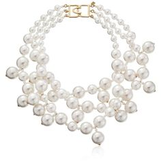 Kenneth Jay Lane Three-Row Faux Pearl Necklace ($48) ❤ liked on Polyvore featuring jewelry, necklaces, accessories, layered chain necklace, simulated pearl necklace, multiple strand necklace, hook necklace and faux pearl multi strand necklace