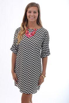 Mesmerizing Chevron Dress, black $42 www.themintjulepboutique.com