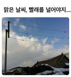 옥상에 만들어 놓은 빨래줄 너머에 있는 맑은 하늘