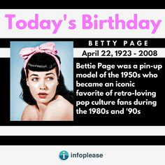 Todays Birthday, Bettie Page, Pin Up Models, Biography, Pin Up Girls, Biographies, Biography Books