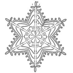 Crochet snowflake chart Plus Crochet Snowflake Pattern, Crochet Motif Patterns, Crochet Snowflakes, Crochet Diagram, Crochet Doilies, Crochet Flowers, Crochet Lace, Crochet Gratis, Crochet Angels