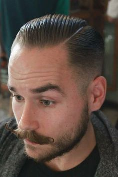 Finding The Best Short Haircuts For Men Slick Hairstyles, Classic Hairstyles, Undercut Hairstyles, Undercut Pompadour, Gorgeous Hairstyles, Best Short Haircuts, Haircuts For Men, Moustaches, Mens Rockabilly Hairstyles