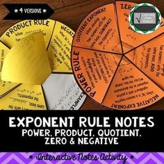 Exponent Rule Notes - Power, Product, Quotient, Zero and Negative A very fun and creative way to take notes for exponent rules - power, product, quotient, zero and negative! These notes can be completed and turned into 4 different versions. There are sugg