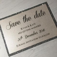 Save the date - Made to match our Aria & Toby Invitation design.  Colour of card, Glitter card, Font & Wording is all Fully customisable. Please message me your options & we can amend the design until your happy. These can also be created with a Magnet on the back.  **Timings may vary depending on quantity ordered. Postage may also vary, and may be cheaper for me to send you an invoice via email after working out approximate parcel weight** Please leave your email in the notes when…