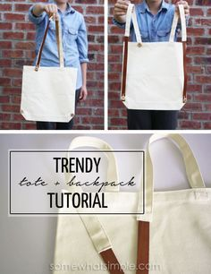 I'm so in love with this canvas + leather interchangeable tote/backpack! SO easy to make! #TrendAlert