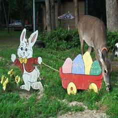 I love to decorate the yard for different occasions and Easter is no exception. I like wooden cut outs like the one in this picture. I have had...