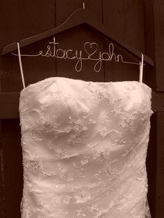 Love this wedding dress hanger idea