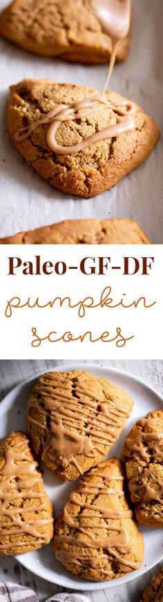 10 Most Misleading Foods That We Imagined Were Being Nutritious! These Paleo Pumpkin Scones Are Tender And Full Of Pumpkin Spice Flavor Serve Them Warm Topped With A Pumpkin Spice Drizzle For A Special Healthier Treat This Fall. Gluten Free And Paleo With Paleo Dessert, Paleo Sweets, Gluten Free Desserts, Dairy Free Recipes, Dessert Recipes, Paleo Baking, Gluten Free Baking, Baking Recipes, Real Food Recipes