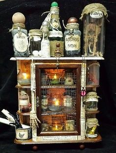 Halloween Witch Cabinet/Apothecary Bottles Wall/Table Haunted House Decor Prop