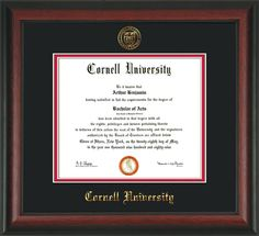 Cornell University Diploma Frame w/premium hardwood moulding - Official Cornell seal and name embossed in gold - black on red mat.  A truly stunning and unique graduation gift!