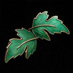 Leaf Earrings Sterling Silver Enamel Norway Vintage SK