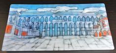 Plato acueducto de Segovia. Esmalte sobre Vidrio y Termoformado. Posibilidad de realización en toda la gama de colores. Realizamos conjuntos de platos a juego de varias unidades
