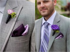 purple and gray men's attire, modern purple New England wedding, Deborah Zoe Photography