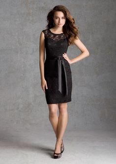 Mori Lee 31033 Short lace bridesmaid dress, illusion neckline, available 14 color options