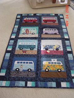 I wish I could quilt.  We had a vw an just like this when Michael was a teenager.                    I MADE THIS QUILT, IT IS SO CUTE!!!