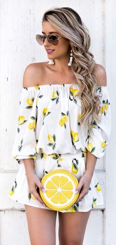 #fashion #outfits  White Flower Print Off The Shoulder Dress & Lemon Clutch