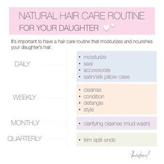 Natural hair care routine for your daughter. Just like you create a routine for your hair, create one for your daughter too. Read more on our blog at http://www.hairtural.com/#!blog/c10r9