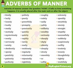 """Adverbs of manner answer the question """"HOW"""" It tells us how something happens. It is usually placed after the main verb or after the object. Learn a list of adverbs of manner in English English Study, English Words, English Grammar, Teaching English, Learn English, English Language, Teaching Methods, Learning Tools, List Of Adverbs"""
