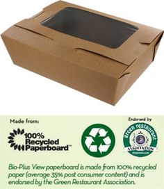 Share MrTakeOutBags.com with your friends and get a $5.00 off your order! Bio-Plus # 3 VIEW EARTH 100% Recycled Kraft Windowed Take Out Food Container | MrTakeOutBags