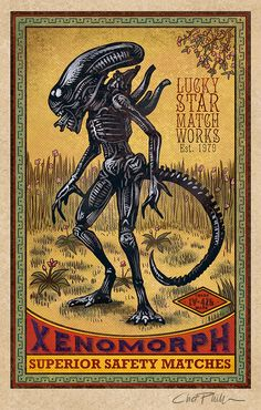 Chet Phillips vintage Matchbox-inspired art featuring pop culture creatures and monsters from movies and mythology.