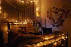 string of lights in bedroom. wow. cooler than a burning candle. or two. or three.